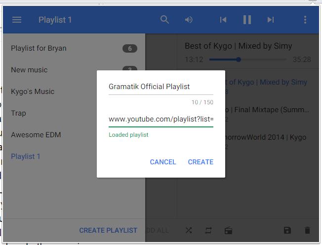Playlists Streamus
