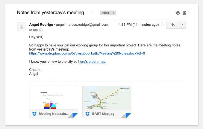 Dropbox pour gmail